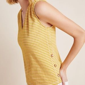 Anthropologie Buttoned Gingham Tank - Current Air